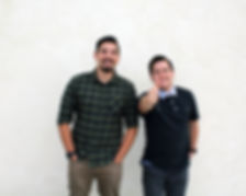 A picture of James and Tim founders of The Creative Grin standing side by side