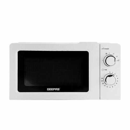 Geepas 20L Solo Freestanding Microwave 5 Power Levels & Defrost Powerful - White