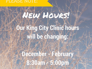 New Hours in King City (December - February)
