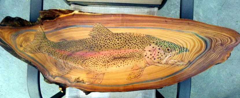 Rainbow trout on Russian Olive