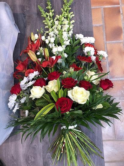 Dernier hommage bouquet rouge et blanc