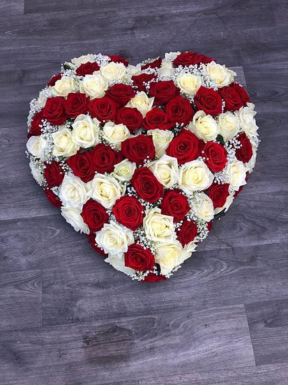 Dernier hommage grand coeur blanc et rouge