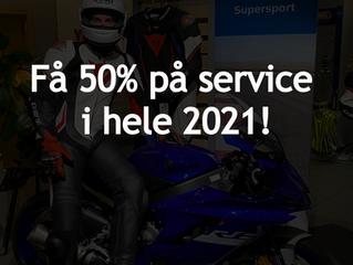 Få 50% på servicer i hele 2021!