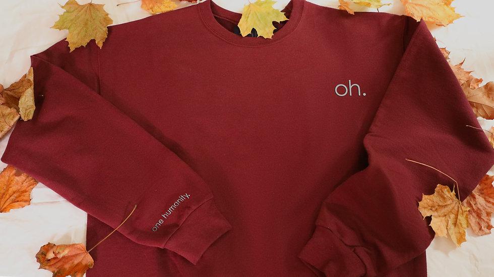 Burgundy Adult Crewneck Sweatshirt - We Are One Humanity