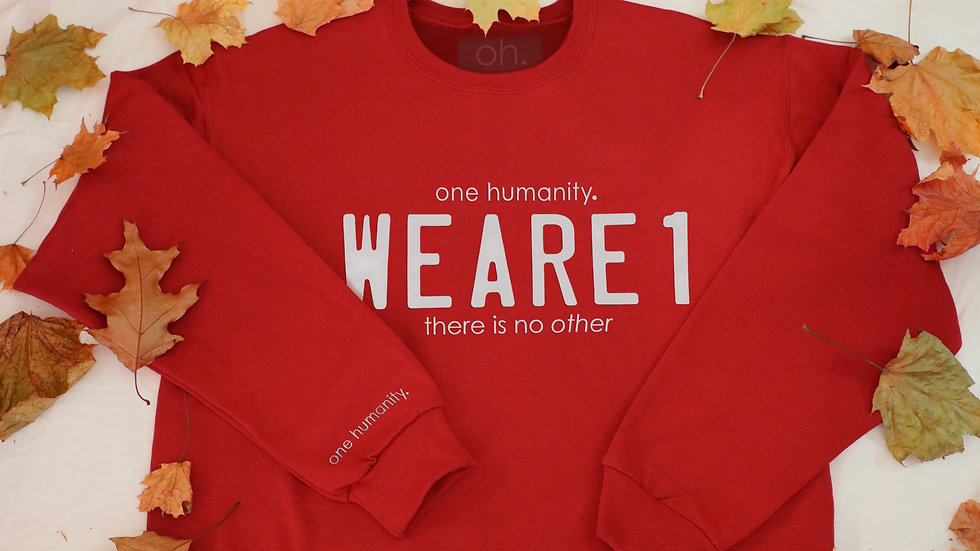 Red Adult Crewneck Sweatshirt - We Are One Humanity