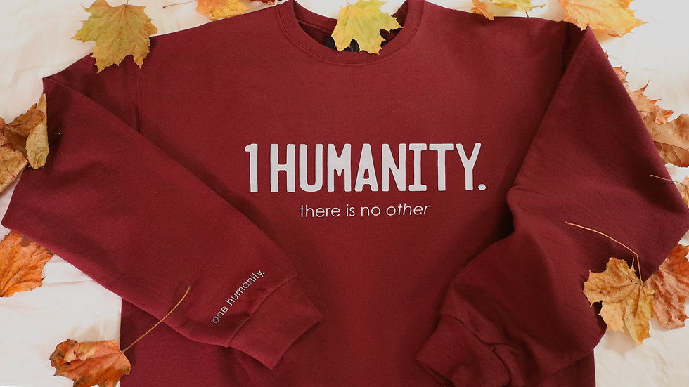 Burgundy Adult Crewneck Sweatshirt - We Are One Humanity