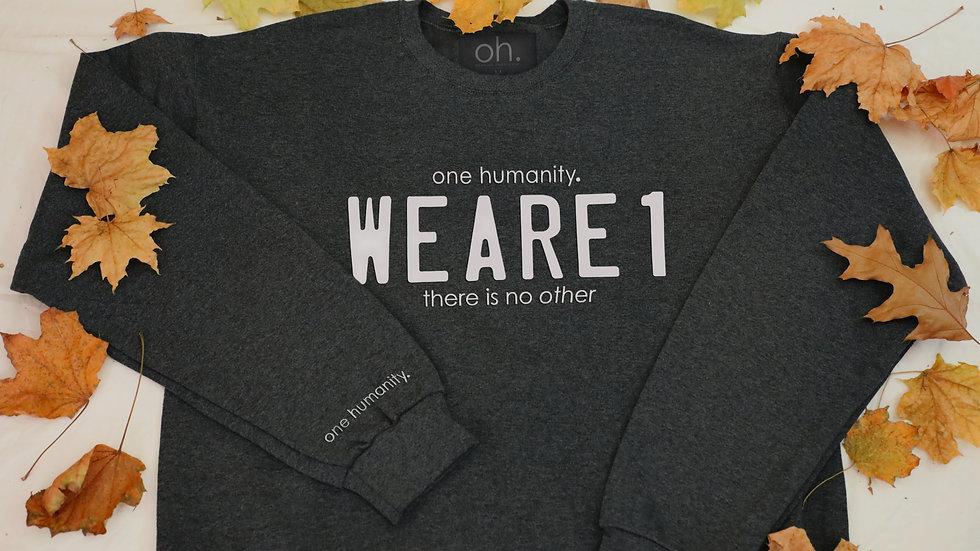 Charcoal Adult Crewneck Sweatshirt - We Are One Humanity