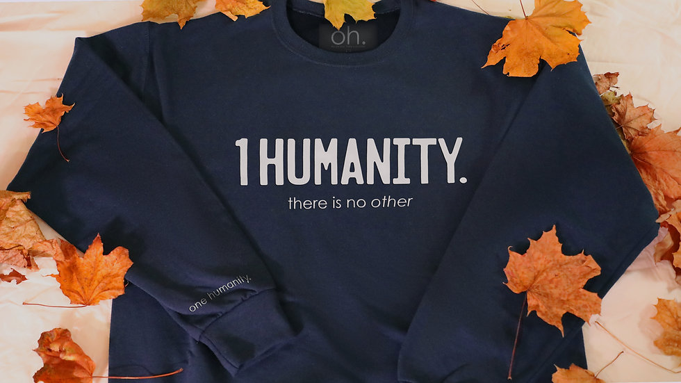 Navy Adult Crewneck Sweatshirt - We Are One Humanity