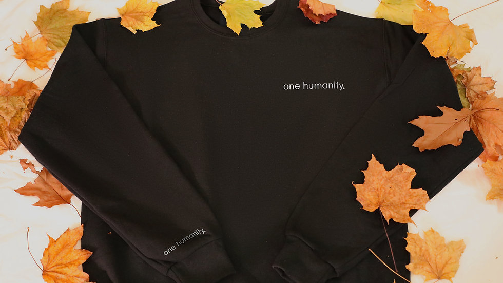 Black Adult Crewneck Sweatshirt - We Are One Humanity