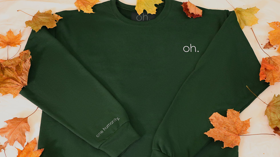 Green Adult Crewneck Sweatshirt - We Are One Humanity