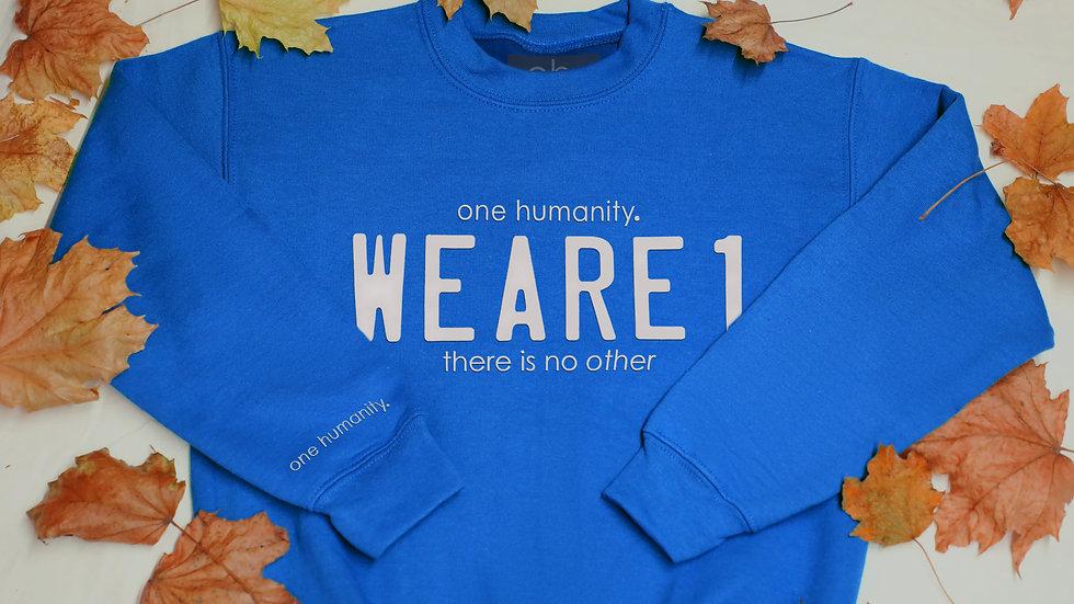 Royal blue Junior Crewneck Sweatshirt - We Are One Humanity