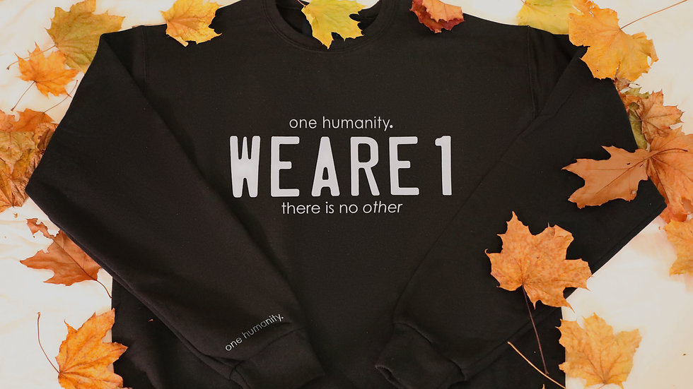 Black Junior Crewneck Sweatshirt - We Are One Humanity