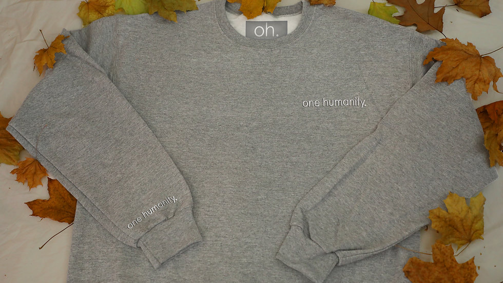 Grey Adult Crewneck Sweatshirt - We Are One Humanity