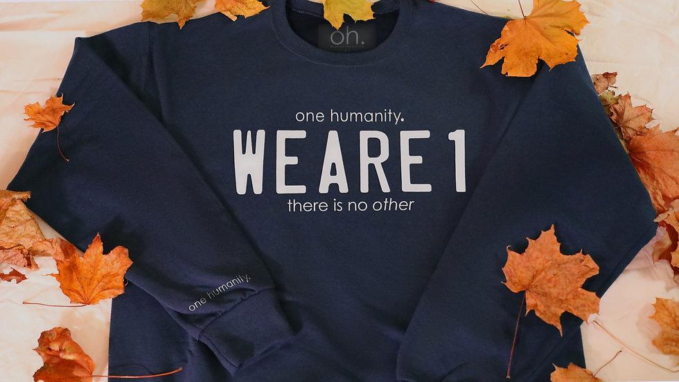 Navy Junior Crewneck Sweatshirt - We Are One Humanity