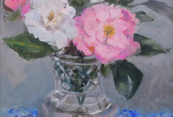 Camelia's in a Chrystal Vase