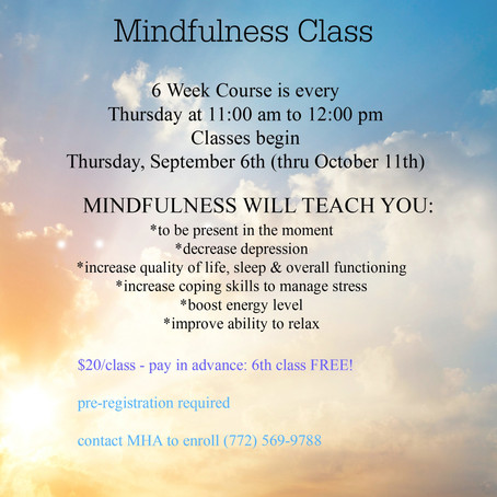 Mindfulness Program Starting Soon! Sept 6th