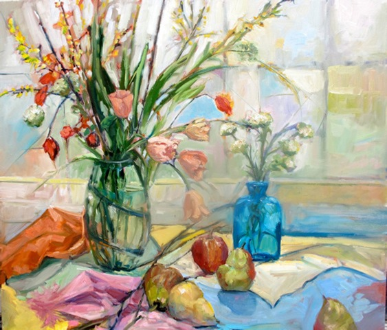Still Life with Tulips and Pears 26x36