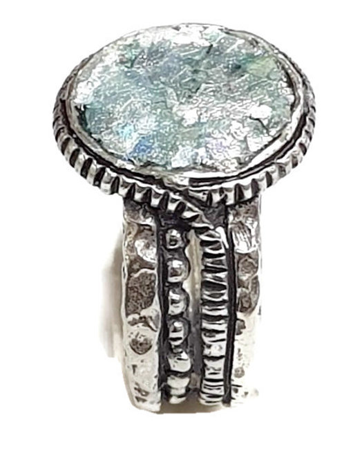 Ancient Roman Glass Silver Sterling  - Four Together Ring