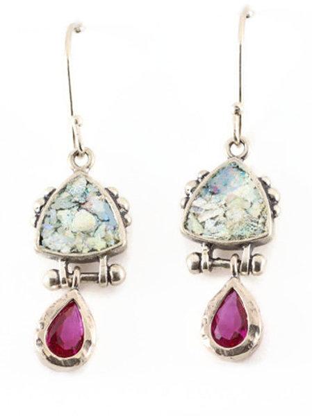 Hot Ruby Earrings - Roman Glass & Sterling Silver