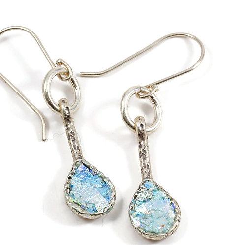 Teardrop Down Fish Hook Earrings - Roman Glass Sterling Silver 925