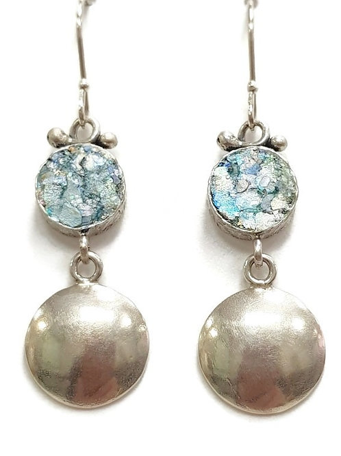 Earth and Moon Earrings - Roman Glass & Sterling Silver 925