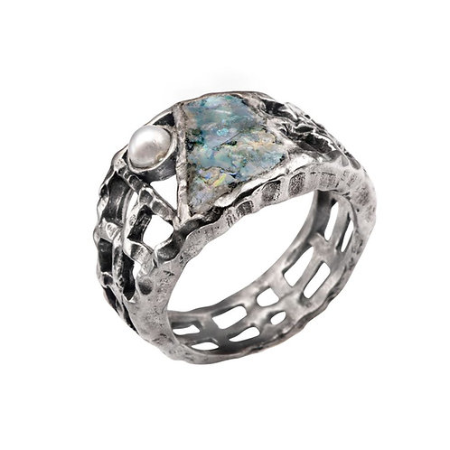 Grid Story Ring - Roman Glass & Sterling Silver