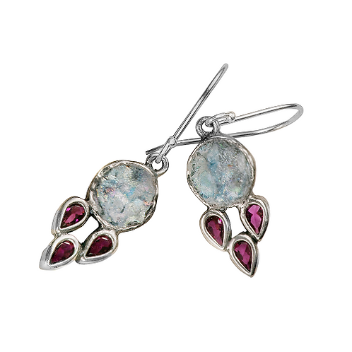 Roman Glass Sterling Silver 925 - Ruby Nights Earrings