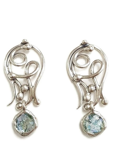 Ancient Roman Glass and Sterling Silver - I Do Post Back  Earrings