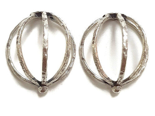 Solid Sterling Silver Back Post   Half - Cage Earrings