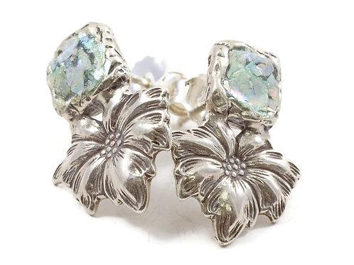 Flowers Stud Earrings - Roman Glass & Sterling Silver 925