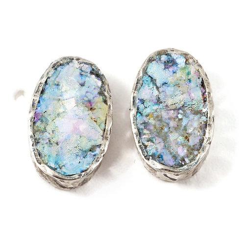 Oval Box Back Post Earrings - Roman Glass & Sterling Silver 925