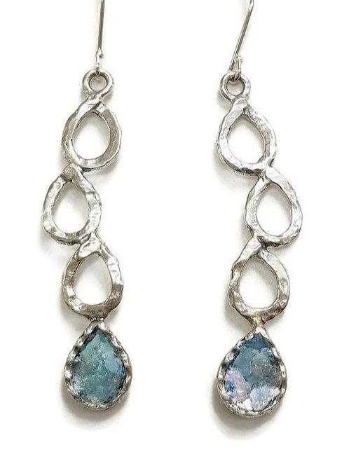 Rain Drops Earrings - Roman Glass & Sterling Silver 925