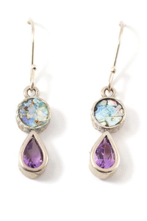 Purple Rain Earrings - Roman Glass & Sterling Silver