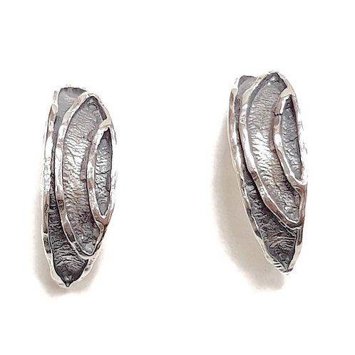 Solid Sterling Silver 925 C- Moon Hoop Earrings