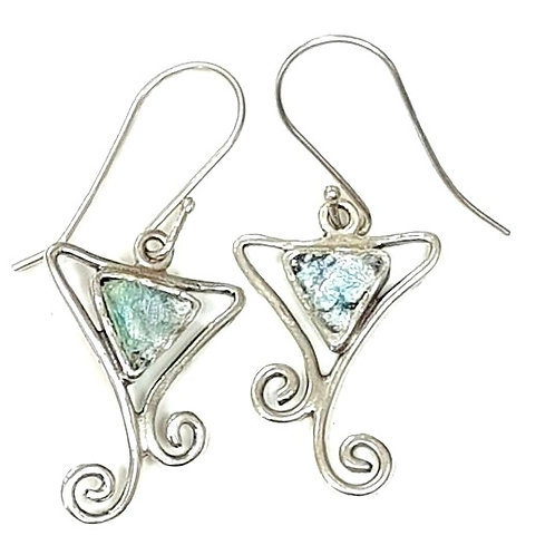 Happy with you Earrings - Roman Glass & Sterling Silver 925