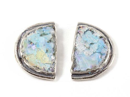 Half & Half Back Post Stud Earrings - Roman Glass & Sterling Silver 925