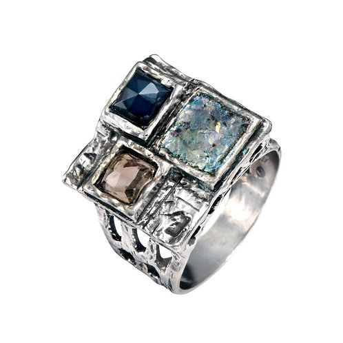 Three Squares Ring - Roman Glass & Sterling Silver