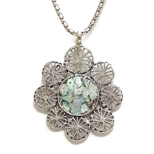 Roman Glass Sterling Silver 925 - Sunflower Pendent