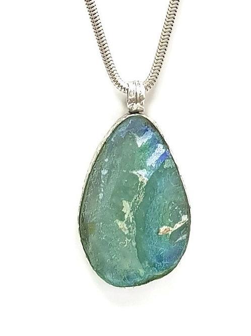 Big Aqua Drop One Of A Kind Pendent - Roman Glass & Sterling Silver 925