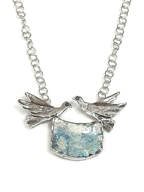 Two Love Birds Necklace - Roman Glass & Sterling Silver 925