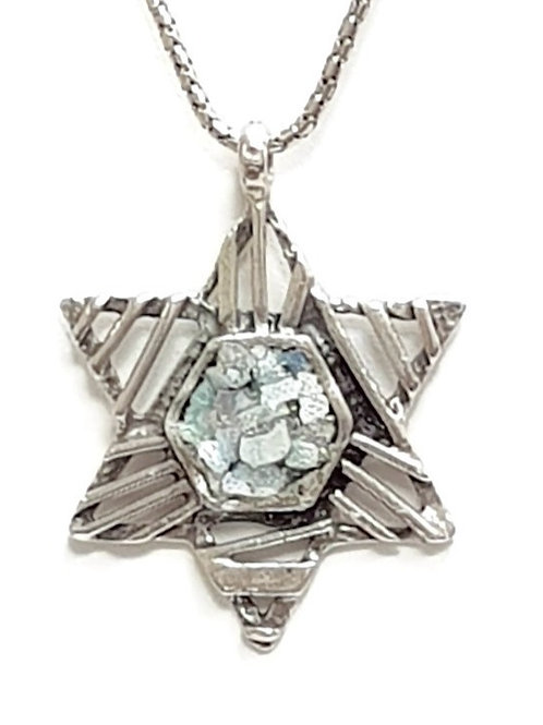 Roman Glass  Judaica Sterling Silver 925 Star in the Sky Pendent