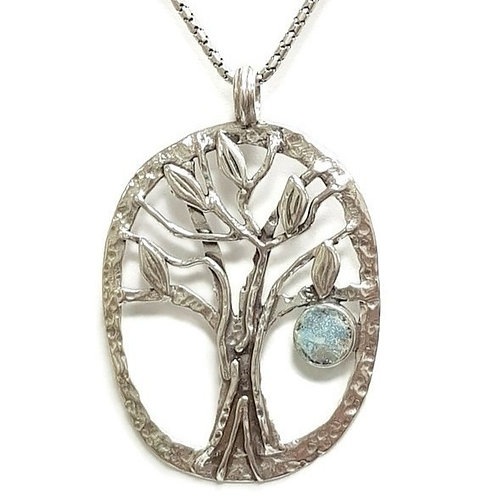 Big Sterling Silver 925 Roman Glass Family Tree Pendant