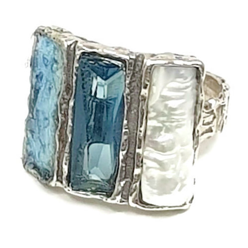 Ancient Roman Glass Silver Sterling -Baguette Story Ring