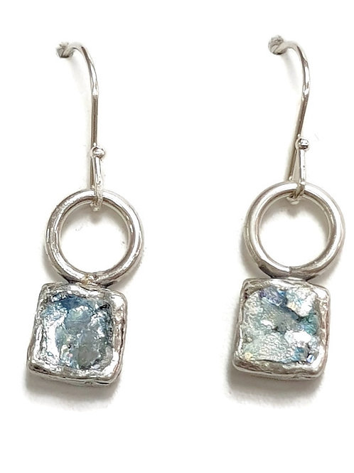 Ancient Roman Glass Silver Sterling 925 - Duet Earrings