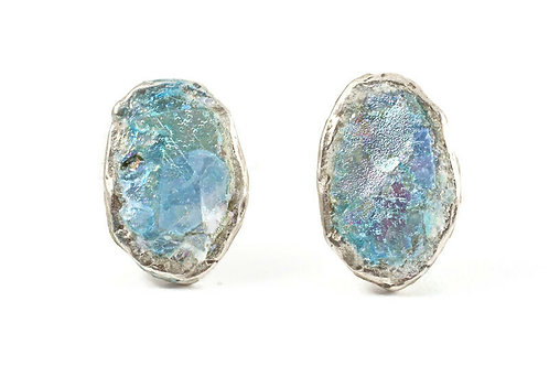 Oval back post stud earrings - Roman Glass & sterling silver 925.