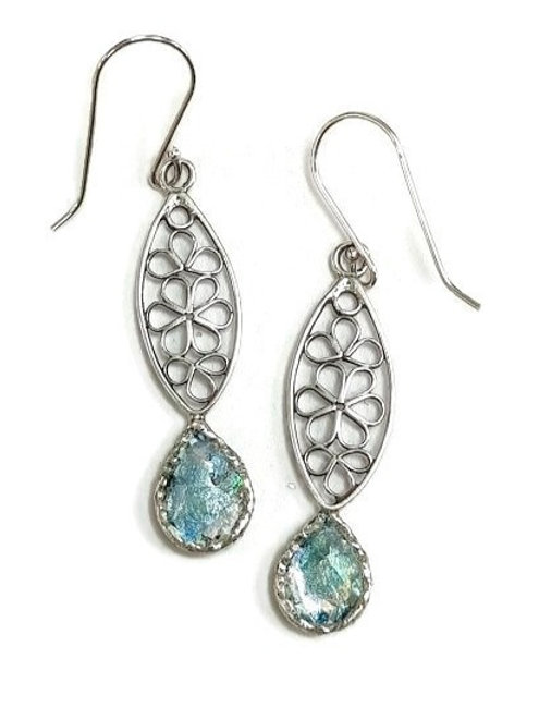 Roman Glass and Sterling Silver 925 - Springtime Light Earrings