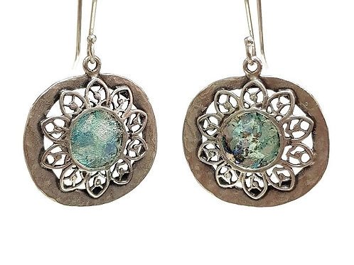 Sterling Silver Roman Glass - Filigree Flowers Earrings