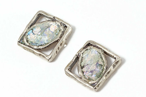 Oval & Square Back Post Earrings - Roman Glass & Sterling Silver 925