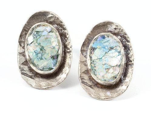 Oval On Top Stud Earrings - Roman Glass & Sterling Silver 925