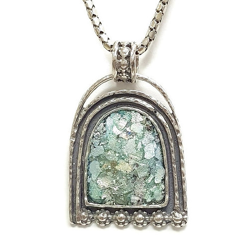 Big Arch Pendent - Roman Glass & Sterling Silver 925